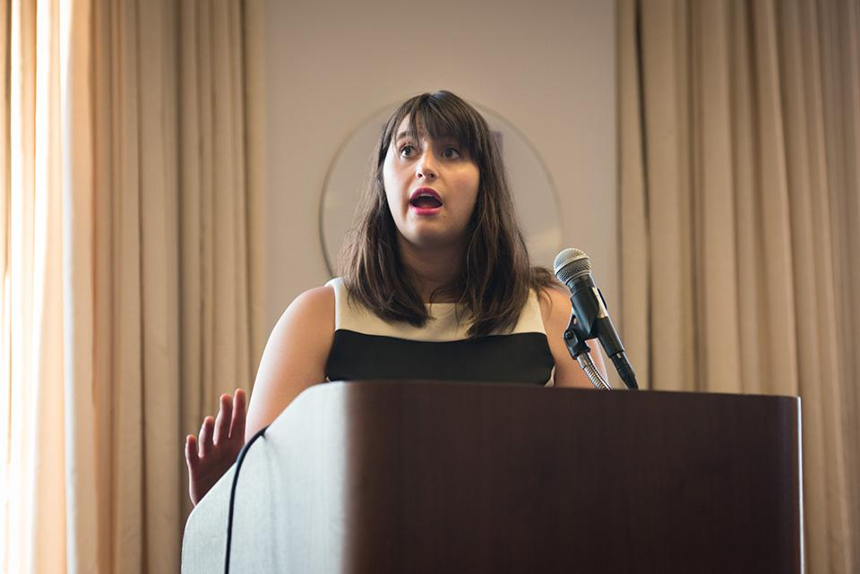 Weinberg junior Lauren Thomas, the Associated Student Government election commissioner, speaks at a Senate meeting Wednesday. Thomas presented potential changes to ASG's election guidelines following leaks during the presidential election in April.