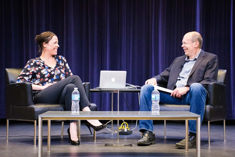 """Julie Snyder (left) sits down with Medill lecturer Alex Kotlowitz. The two spoke about Snyder's experiences producing the podcasts """"Serial"""" and """"This American Life."""""""