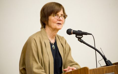 Mayor Elizabeth Tisdahl speaks at Thursday night's town hall meeting. Tisdahl said she is concerned about the effects of the state budget impasse on Evanston.