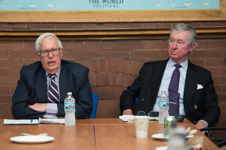 Former Northwestern president Henry Bienen (left) speaks at a Political Union event Monday. Bienen and Political Science Prof. John Rielly, former president of the Chicago Council of Global Affairs, discussed Obama's foreign policy.