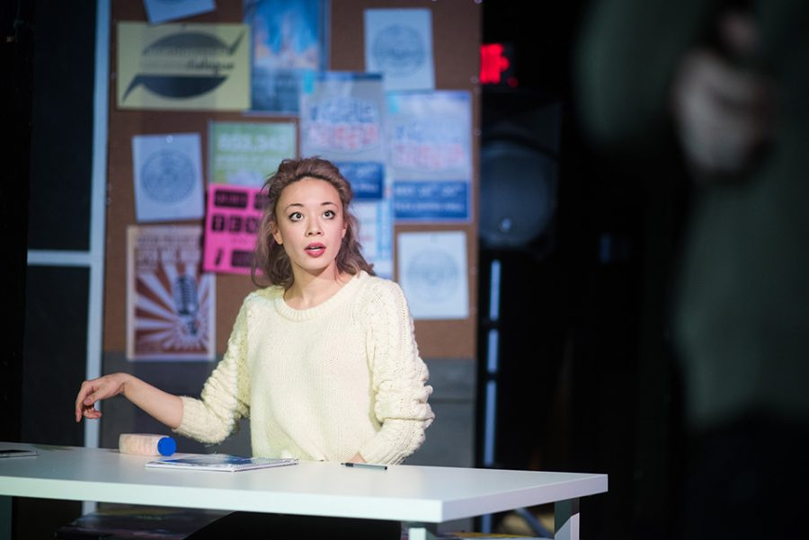 """A student rehearses for """"Waiting for Dillo,"""" the first annual production of Project NU, Spectrum Theatre Company's new community-based initiative. The show drew material from interviews with nearly 70 students from all areas of campus."""