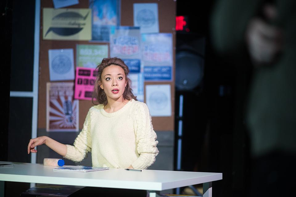 "A student rehearses for ""Waiting for Dillo,"" the first annual production of Project NU, Spectrum Theatre Company's new community-based initiative. The show drew material from interviews with nearly 70 students from all areas of campus."
