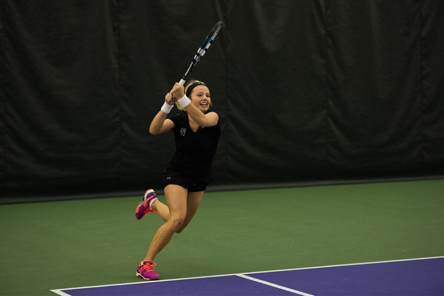 Alex Chatt hits a backhand. The sophomore, alongside doubles partner Maddie Lipp, will represent NU in the NCAA individual tournaments.