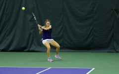 Brooke Rischbieth hits a backhand shot. The junior amassed a 10-3 record at the No. 6 singles spot this season.