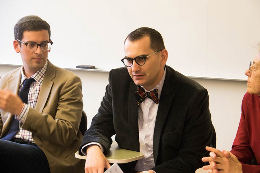 Middle East and North African Studies lecturer Amjad al-Dajani speaks during a panel about Zionism on Tuesday. Four Northwestern professors sat on the panel, which examined Zionism from various academic and personal perspectives.