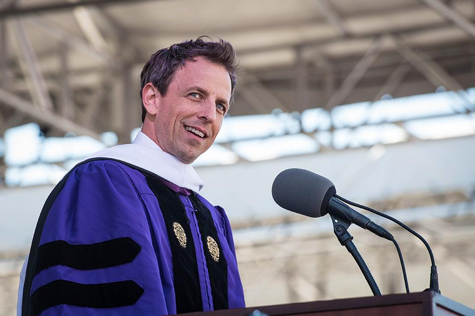 "Meyers addresses the class of 2016. ""Not a day goes by that I don't think about my time at Northwestern,"" he said. ""I can sincerely tell you this: You will leave here with knowledge and a diploma but what will endure the longest are your friends."""