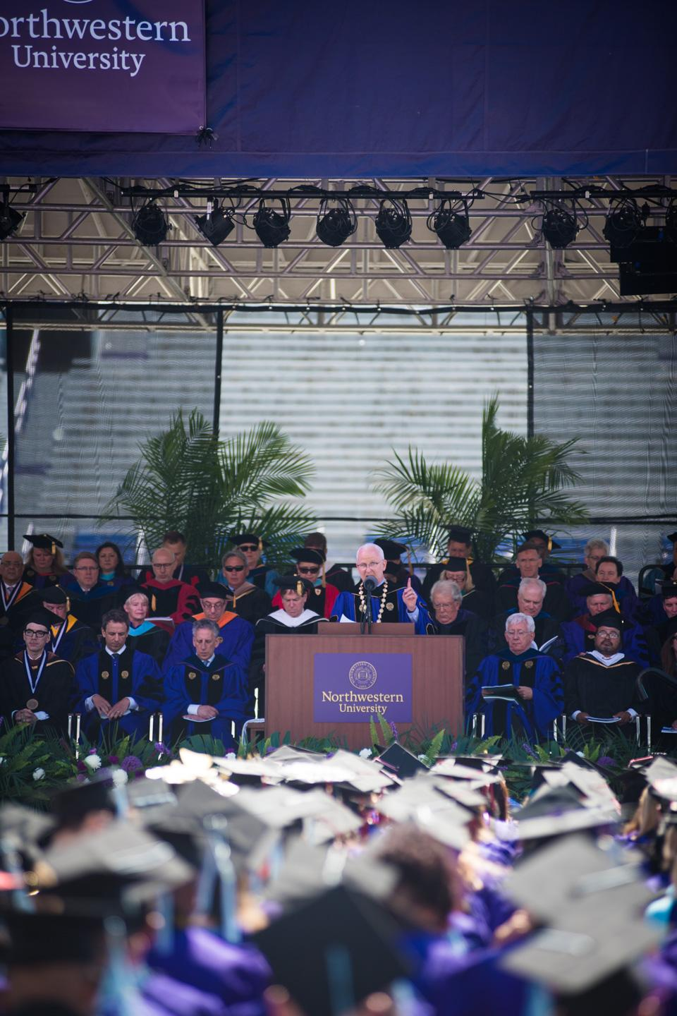 Schapiro addresses the crowd during the ceremony. This was Schapiro's 7th commencement ceremony as president of the University.