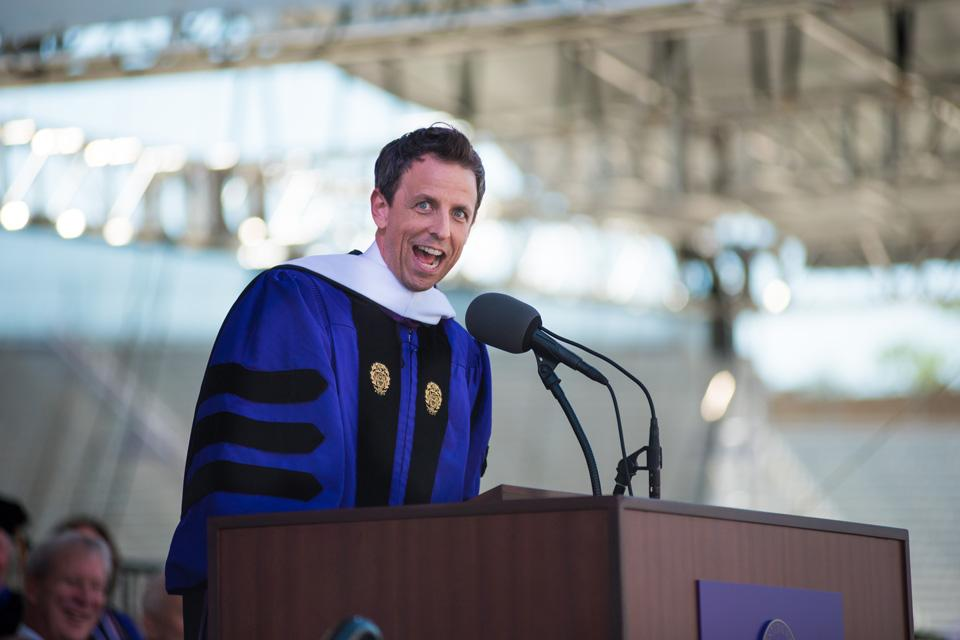 Seth Meyers (Communication '96) addresses the class of 2016 during this year's commencement ceremony. In his speech, Meyers, host of NBC's