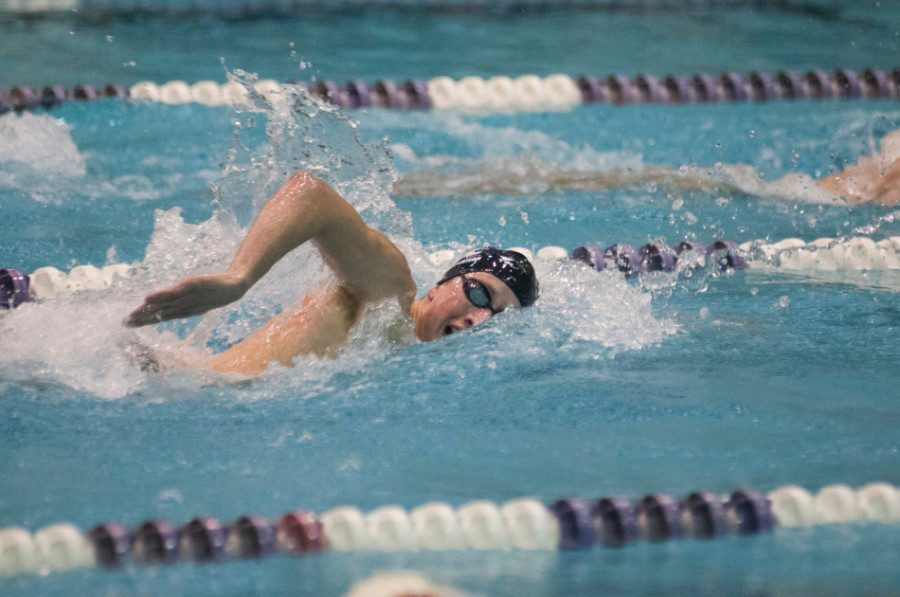 Jordan Wilimovsky competes in a race. The senior finished fourth overall in the 1,500 meter freestyle Saturday night.