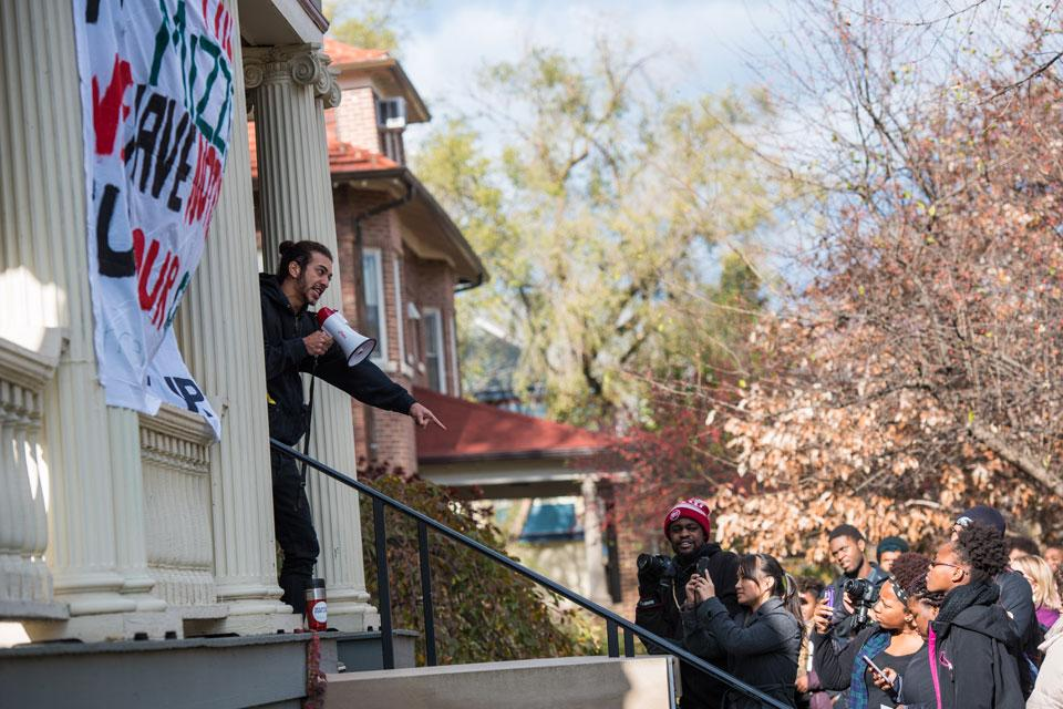 Students gather at the Black House in November 2015 to support students at the University of Missouri and Yale University who protested racial injustice. The NU students later spoke out at the groundbreaking ceremony for the lakeside athletic facility and demanded the University address racial problems on campus. On Monday, the University sent out a report including recommendations to improve the experience of black students at NU.