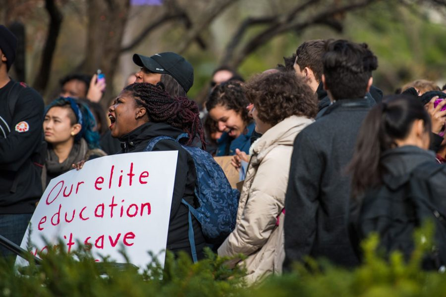 Students+gather+outside+the+Black+House+during+a+demonstration+last+Fall.+In+a+report+released+last+week%2C+a+University-appointed+committee+outlined+several+recommendations+to+enhance+the+black+student+experience+at+Northwestern.