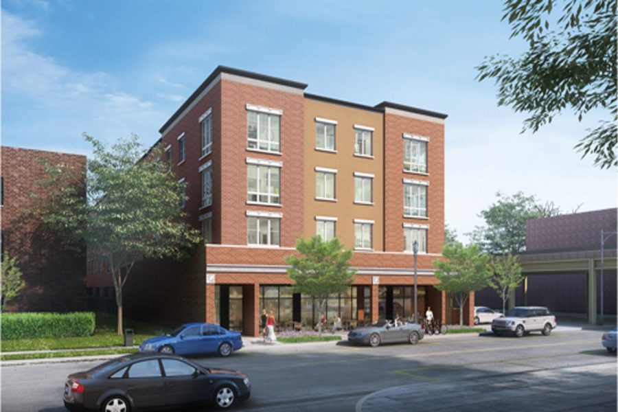 A+rendering+of+the+development+at+824+Noyes+St.+The+plan+for+the+four-story+building+was+approved+by+City+Council+on+Monday.