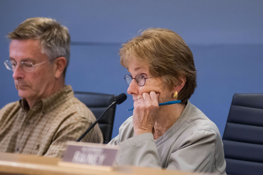 Ald. Eleanor Revelle (7th) attends Monday night's Council meeting. Revelle originally urged the Council to vote on the benchmarking ordinance now rather than later, but agreed to hold the vote until November.