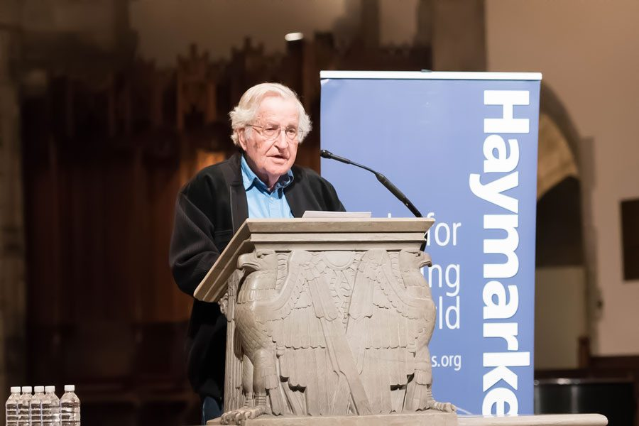 Massachusetts Institute of Technology professor and linguist Noam Chomsky speaks at the University of Chicago on Monday. Chomsky was selected as the first speaker in a series of talks to celebrate the 15th anniversary of Haymarket Books.