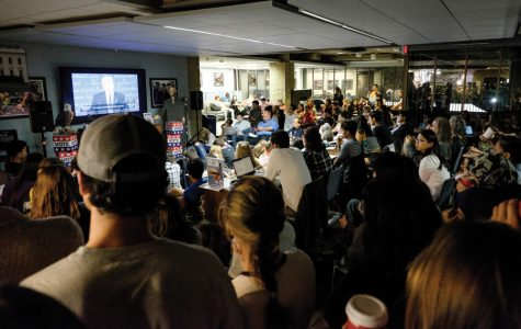 More than 200 students gather at Norris University Center to watch the presidential debate between Hillary Clinton and Donald Trump. NBC Nightly News anchor Lester Holt served as Monday's debate moderator.
