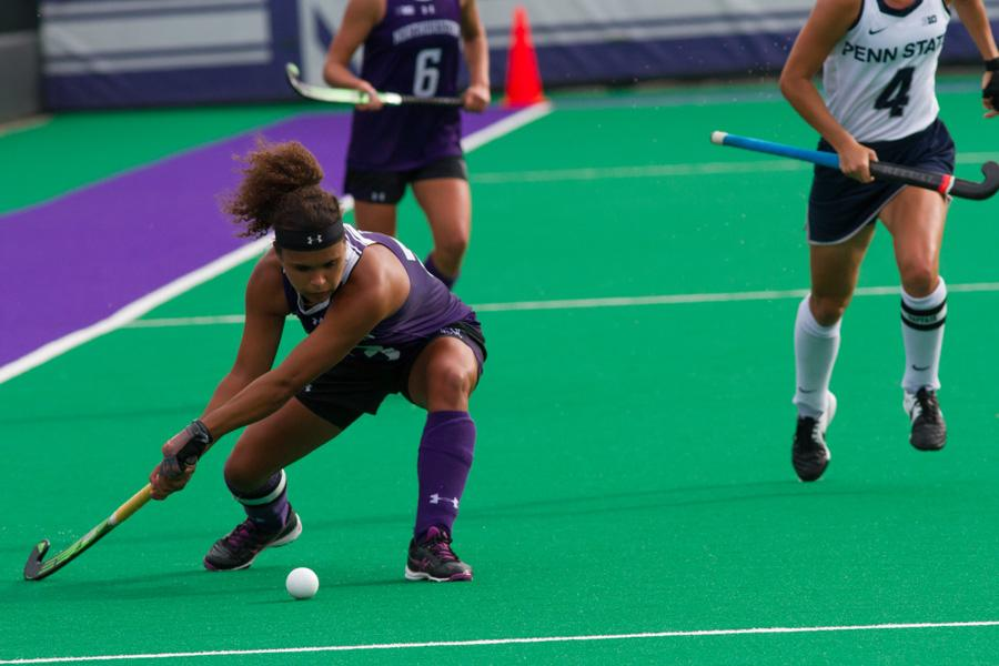 Isabel Flens readies to pass the ball. The senior midfielder didn't score over the weekend, but that didn't stop Northwestern from beating No. 4 Penn State on Friday and No. 6 Maryland on Sunday.