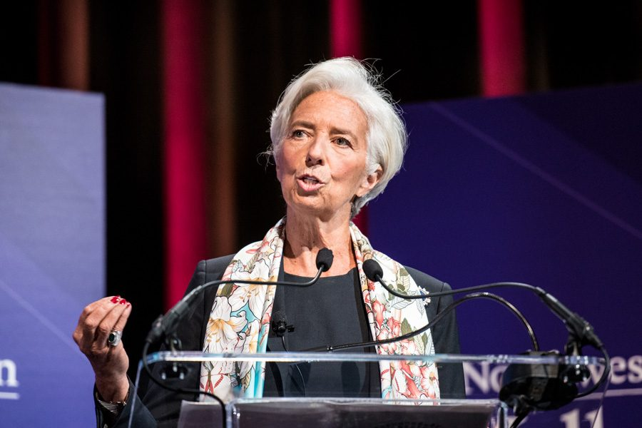 Christine Lagarde discuss economic policy during a lecture at Cahn Auditorium on Wednesday. The managing director of the International Monetary Fund stressed the importance of free trade to continued economic growth.