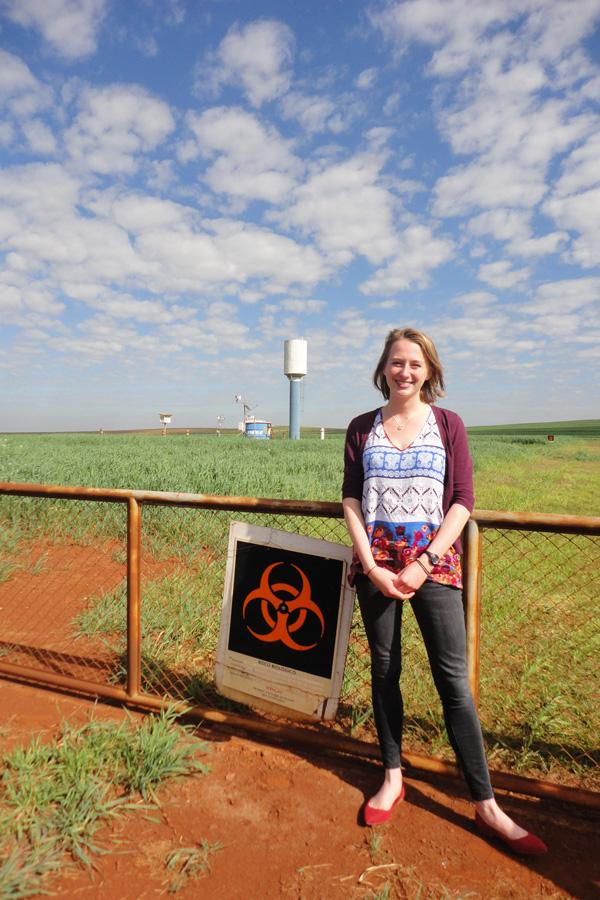Weinberg senior Tara Mittelberg visits the Embrapa research institute in Brazil. Mittelberg traveled to six different countries this summer to study genetically modified organisms and their relation to food security.