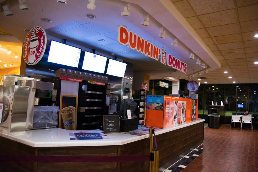 Starting+this+year%2C+Dunkin%E2%80%99+Donuts+at+Norris+University+Center+closes+at+4+p.m.+Monday+through+Friday.+Data+collected+over+the+last+two+years+showed+the+revenue+generated+between+the+new+closing+times+and+the+old+made+up+only+a+small+percentage+of+the+daily+revenue+at+Dunkin%E2%80%99+Donuts.