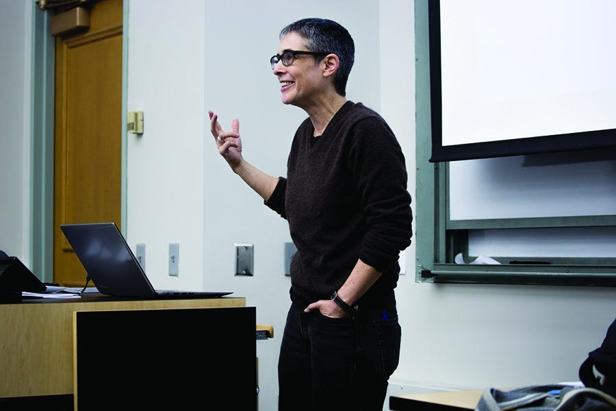 "Political science Prof. Jacqueline Stevens speaks at a campus event last winter. Stevens wrote in a recent blog post that the University banned her from campus based on reports from faculty that she poses a ""risk to campus safety."""