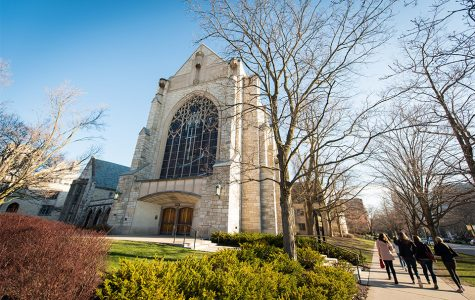 Two former Northwestern students were charged in March with felony vandalism in connection with graffiti found in Alice Millar Chapel. They appeared in court on Wednesday for an updated status of their cases.