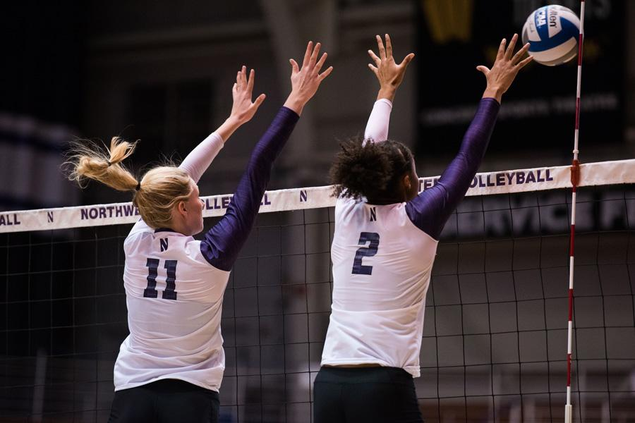 Maddie Slater sets the ball. NU opens its Big Ten season Wednesday against Indiana.