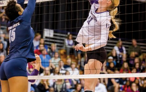 Maddie Slater spikes the ball. The senior middle blocker is fourth on the Wildcats in kills ahead of a home matchup with Iowa on Saturday.