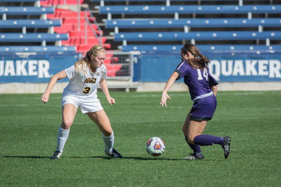 Marisa+Viggiano+dribbles+at+a+defender.+The+sophomore+midfielder+had+a+goal+and+an+assist+in+Northwestern%E2%80%99s+4-1+victory+over+Maryland+on+Sunday.