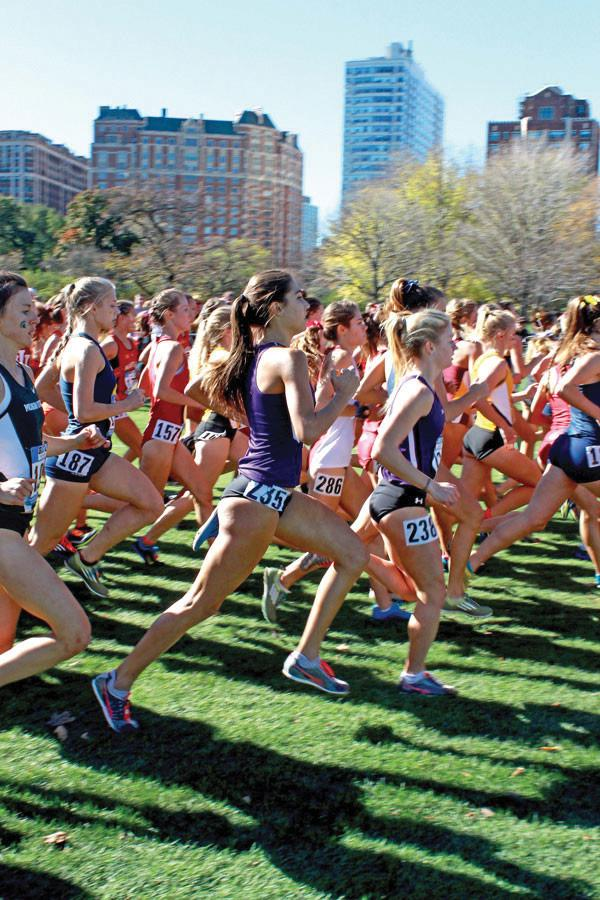 A group of Northwestern runners run in a pack. The Wildcats will be led by two freshmen, Aubrey Roberts and Sarah Nicholson, as they travel to the Griak Invitational on Saturday.