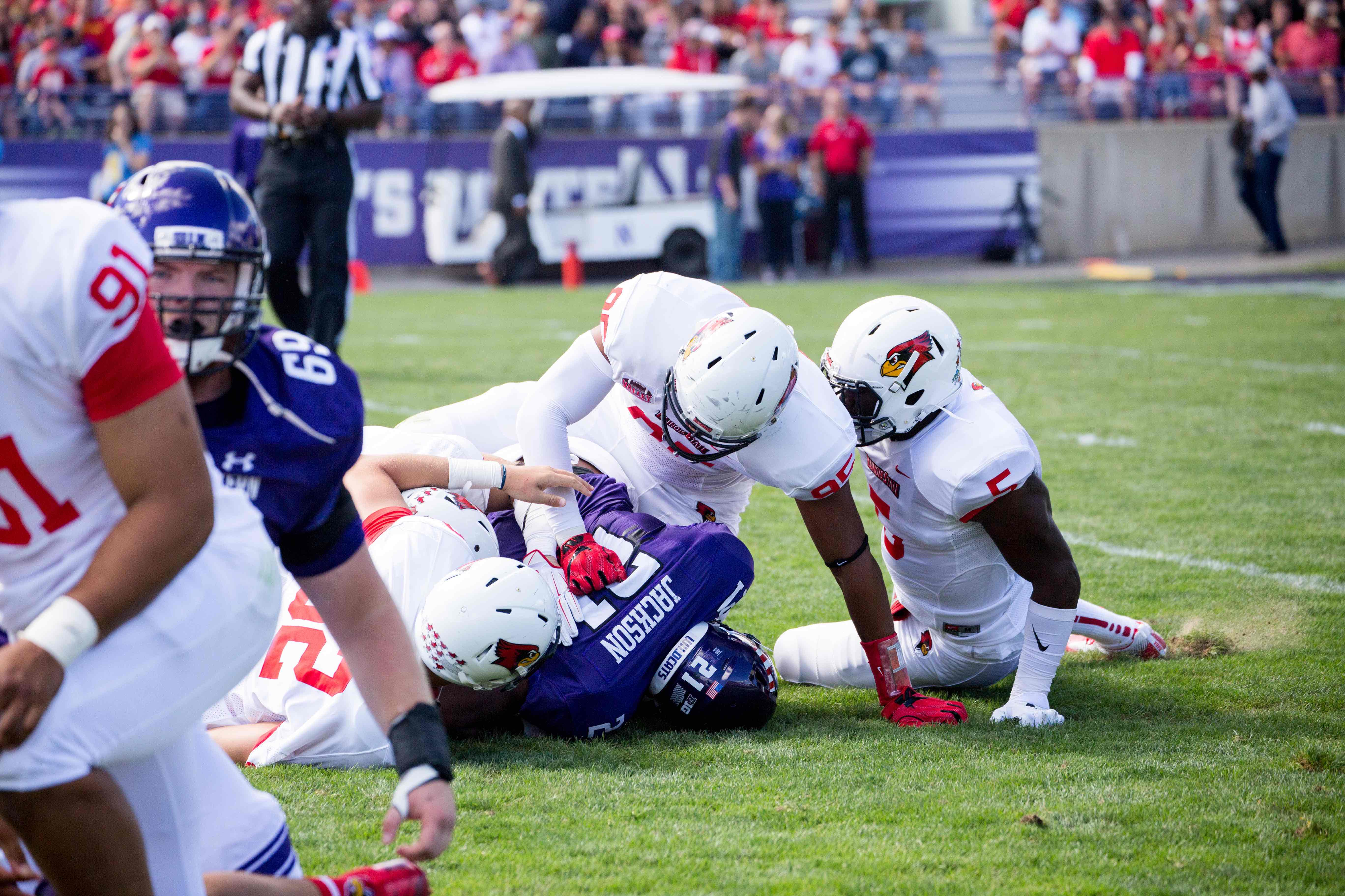 Justin Jackson gets tackled for a loss. The junior running back only managed 39 rushing yards in Saturday's loss to Illinois State.