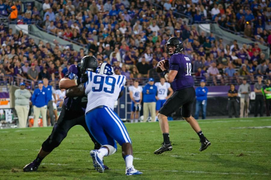 Clayton Thorson looks for an open receiver. The sophomore quarterback threw for a career-high 320 passing yards but completed just 18-of-39 attempts.