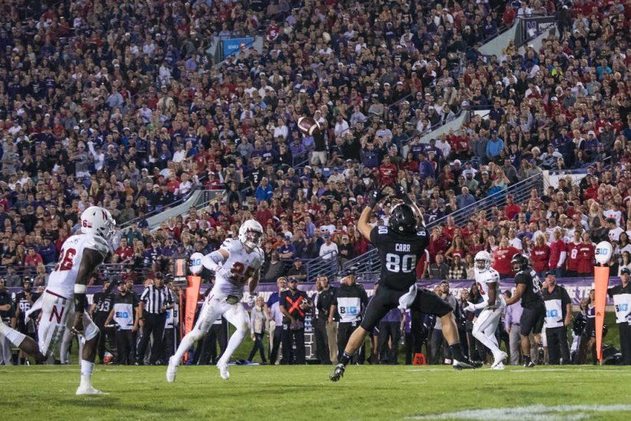 Austin Carr catches a 24-yard touchdown pass. The senior receiver already has 392 receiving yards this season, more than any Wildcat had in all of 2015.
