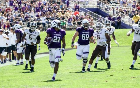 Justin Jackson breaks loose for a 46-yard touchdown. The junior running back scored a career-high three touchdowns in Saturday's loss to Western Michigan.