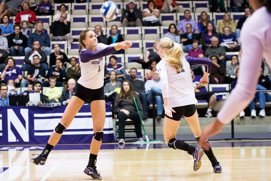 Taylor Tashima passes the ball. The junior setter had a big game in Northwestern's Saturday loss against Dayton.