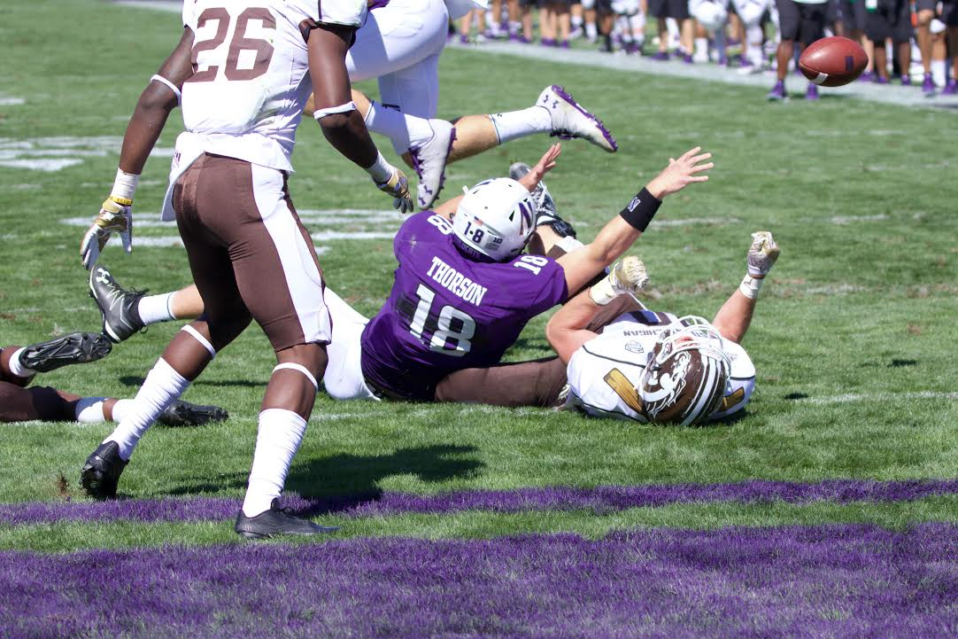 Clayton Thorson loses the ball on the one-yard line late in the fourth quarter Saturday. The sophomore quarterback had been trying to score on a first-and-goal from the six, but ultimately fell just short.