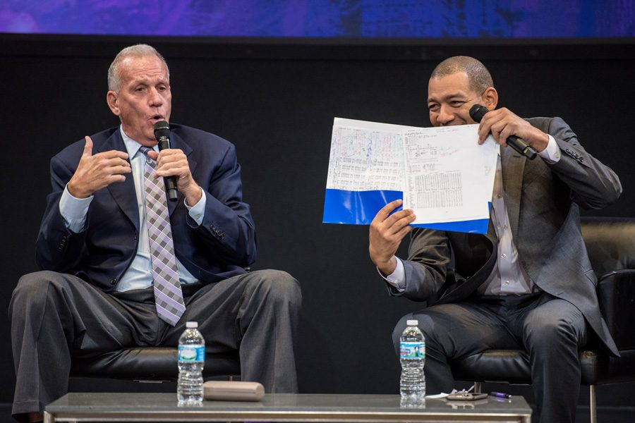 Former+NBA+coach+Doug+Collins+and+Medill+director+of+sports+journalism+J.A.+Adande+talk+basketball+in+McCormick+Tribune+Center.+Collins+reflected+on+his+career+with+an+audience+of+sports+fans+Monday+evening.%0A