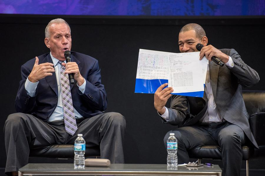 Former NBA coach Doug Collins and Medill director of sports journalism J.A. Adande talk basketball in McCormick Tribune Center. Collins reflected on his career with an audience of sports fans Monday evening.