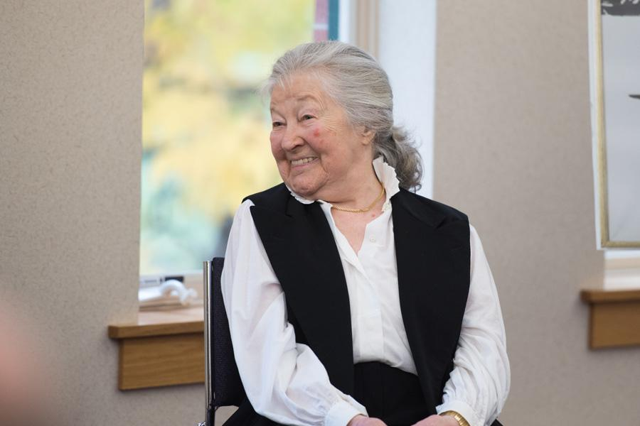 """Author and Holocaust survivor Ava Kadishson Schieber speaks at Fiedler Hillel about her new book, """"Present Past."""" Schieber launched the collection of stories, artwork and poetry that describe her life after the Holocaust at an event  Sunday."""