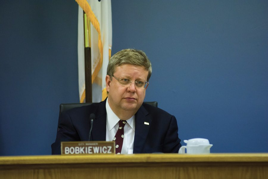 City manager Wally Bobkiewicz attends a city council meeting. Bobkiewicz released a proposed 2017 budget for the city on Friday.