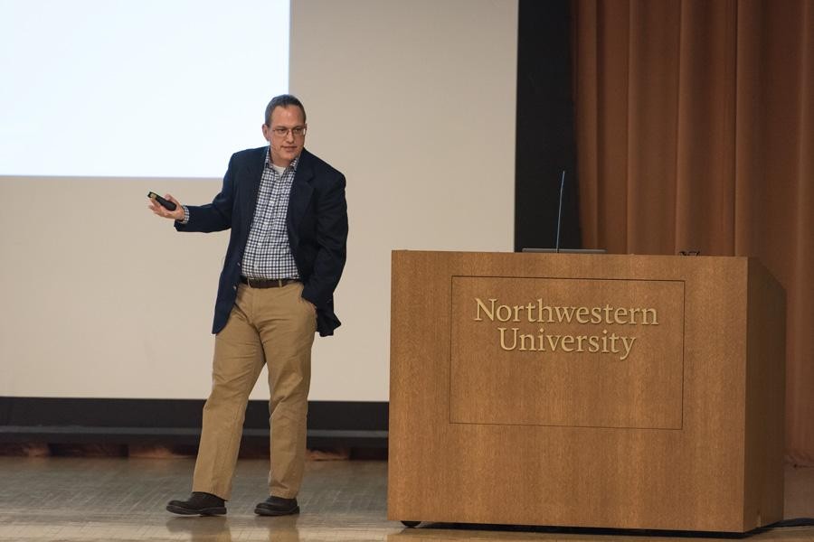 Charles Kuehmann (McCormick '94) speaks at Ryan Family Auditorium in the Technological Institute Thursday. He is the vice president of materials engineering at SpaceX and Tesla.