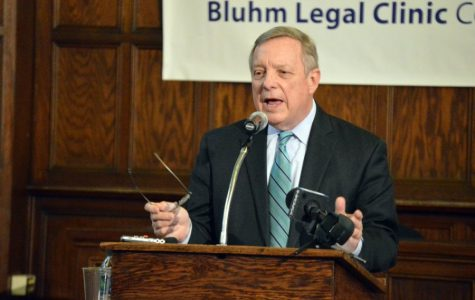 U.S. Sen. Dick Durbin urges big pharma action on opioids at law school talk