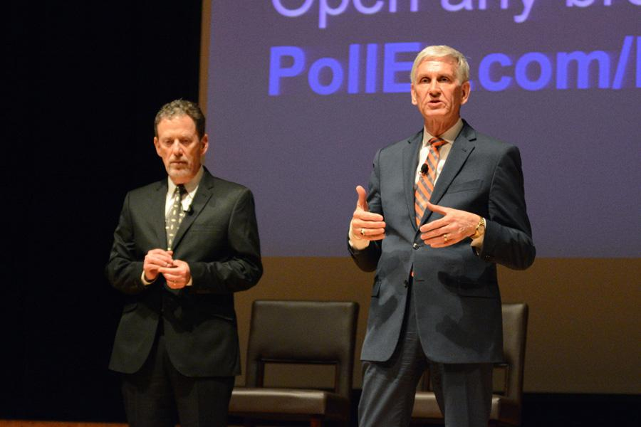 Evanston/Skokie School District 65 Superintendent Paul Goren and District 202 Superintendent Eric Witherspoon speak at an event this year. Goren and Witherspoon outlined steps schools are taking to combat the possibility of a clown hoax reaching Evanston.