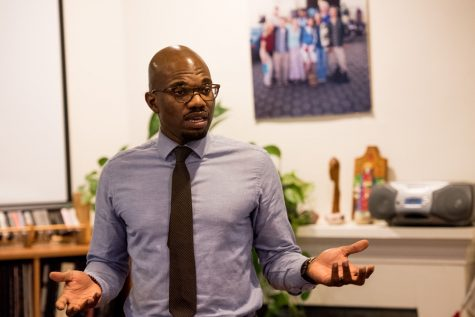 Augustine Emuwa, principal of Gale Math and Science Academy, speaks at Northwestern on Thursday. Emuwa spoke about his experience growing on Chicago's South Side and the challenges facing Chicago Public Schools.
