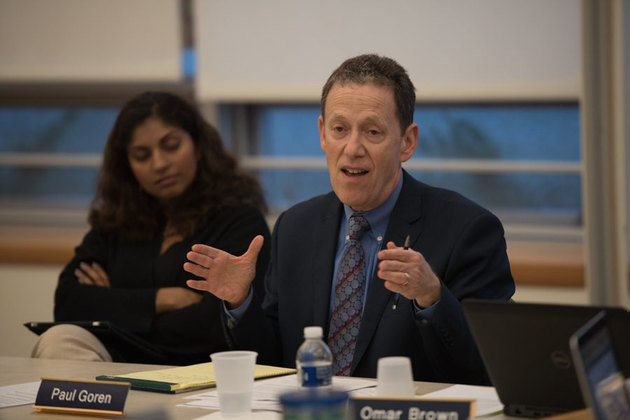 """District 65 Superintendent Paul Goren attends a meeting. Goren and Board President Candace Chow said in a update on the website they were """"disappointed"""" that the District Educators' Council had started the initial process for a strike."""
