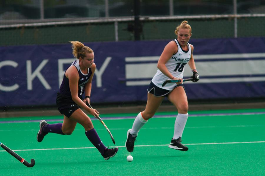 Elena Curley runs with the ball. The junior midfielder is one of seven Northwestern players with four or more goals so far this season.