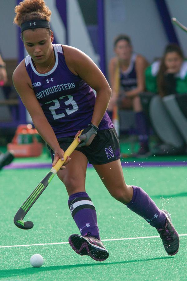 Isabel Flens handles the ball. The senior midfielder and the rest of the Wildcats' offense was quiet over the weekend in losses to Indiana and No. 8 Louisville.