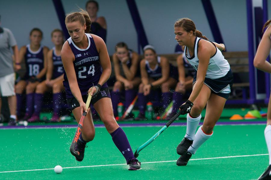 Sophia Miller evades a defender. The junior back and No. 9 Northwestern will look to bounce back from two defeats last weekend.