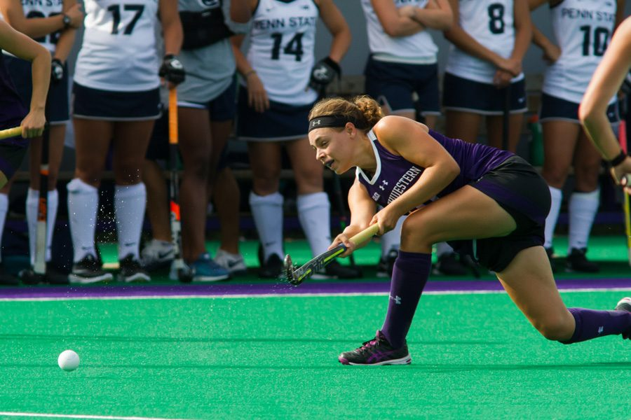 A Northwestern player fires a pass. The No. 6 Wildcats played well offensively in two weekend wins, scoring a combined 12 goals.