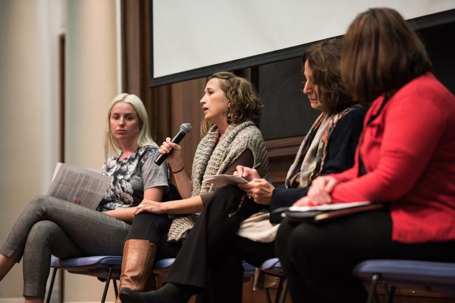 April Harrington, development director at Growing Home, speaks during Real Food at NU's panel Tuesday night. The panel, held at Harris Hall, discussed food insecurity as part of this year's Food Week.