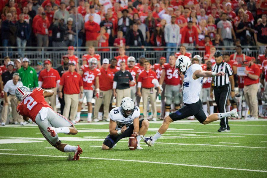 Senior kicker Jack Mitchell takes aim at a 33-yard field goal late in Saturday's loss to Ohio State. Northwestern kicked a late field goal in the red zone on its last possession with the ball in the 24-20 loss.